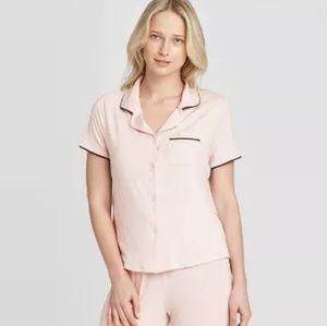 STARS ABOVE Petal Pink Notch Collar Pajama Top